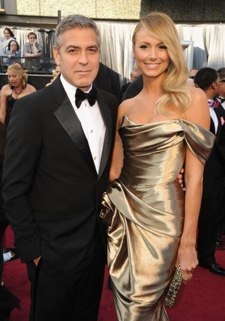 George Clooney and Stacy Keibler arrive at the 84th Annual Academy Awards held at the Hollywood & Highland Center in Hollywood on February 26, 2012  -- WireImage