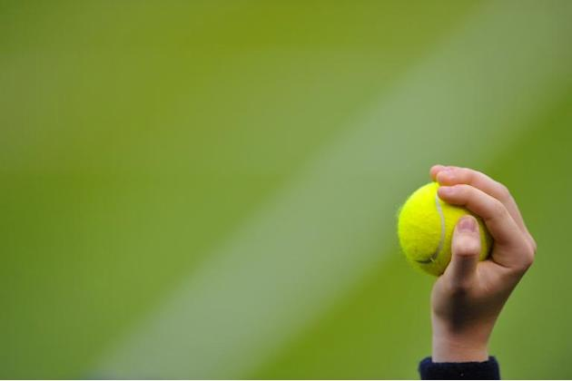 A ballboy holds up a ball during a men's third round singles match at the Wimbledon Championships in Wimbledon, southwest London, on June 28, 2013