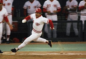 Pete Rose sprints to first during a game in 1985, but he can't run from the mess he's made. (AP)