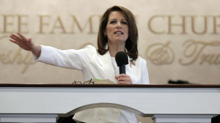 Republican presidential candidate, Rep. Michele Bachmann, R-Minn., speaks to congregants during a campaign stop at Jubilee Family Church in Oskaloosa, Iowa, Sunday, Jan, 1, 2012. (AP Photo/Charlie Riedel)