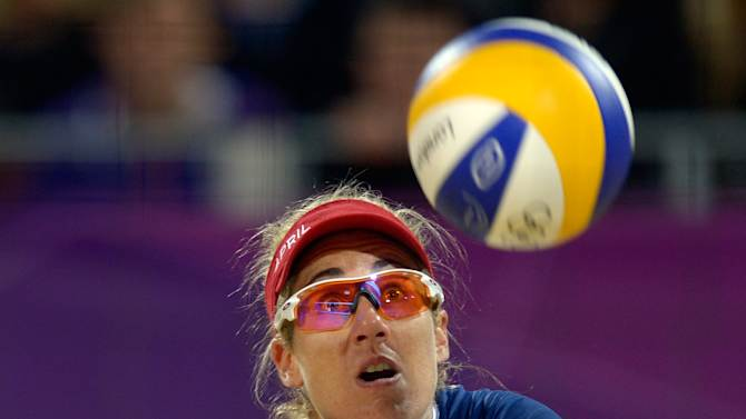 April Ross from the US eyes the ball dur