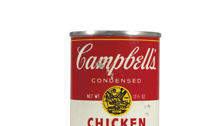 "CAPTION ADDITION, ADDS COPYRIGHT INFO - This undated photo provided by Christies's auction house in New York and The Andy Warhol Foundation for the Visual Arts, Inc. shows Andy Warhol's ""Campbell's Chicken with Rice Soup,"" tin soup can filled with concrete, with a pre-auction estimate of $50,000-70,000. It is one of about 125 artworks being offered from Feb. 26 through March 5 in Christie's first online-only Warhol sale. The works can be previewed online prior to the sale. Bidders can browse, bid and receive instant updates by email or phone if another bid exceeds theirs. (AP Photo/Copyright The Andy Warhol Foundation for the Visual Arts, Inc.)"