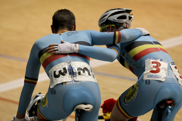 Gijs Van Hoecke (R) And Kenny De Ketele (L) From Belgium Race In The Men's Madison Event At The 2012 Track Cycling AFP/Getty Images