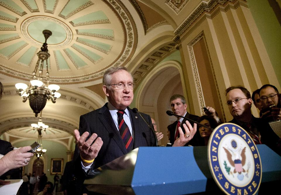 Senate Majority Leader Harry Reid of Nev., talks to reporters about the impasse among the payroll tax conferees, Tuesday, Feb. 14, 2012, on Capitol Hill in Washington.  (AP Photo/J. Scott Applewhite)