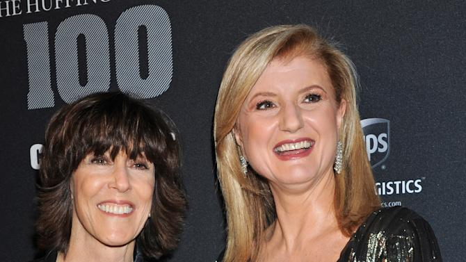 "Author Nora Ephron, left, and Arianna Huffington arrive at the ""Huffington Post  2010 Game Changers Event"", Thursday, Oct. 28, 2010, in New York. (AP Photo/ Louis Lanzano)"