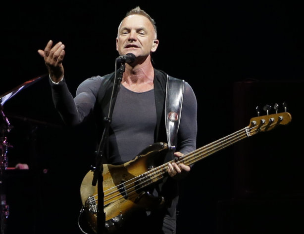 "FILE - This Nov. 28, 2012 file photo shows British singer Sting performing during his ""Back to Bass"" tour, in Beirut, Lebanon. Sting, Rihanna and Bruno Mars will hit the stage for a special performance at next week's Grammy Awards. The Recording Academy announced Monday, Feb. 4, 2013, that they will perform together at the Feb. 10 awards show. Triple nominee Kelly Clarkson will also take the stage. (AP Photo/Hussein Malla)"