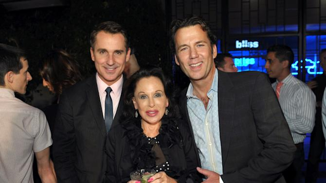 William Kapfer, Vice President of LGBT Marketing at Walton Isaacson, left, actress Nikki Haskell, center, and actor David Millbern attend OUT Magazine's 20th Anniversary Party presented by Lexus at Station at W Hotel on Tuesday, Oct. 9, 2012 in Los Angeles. (Photo by John Shearer/Invision for OUT/AP Images)