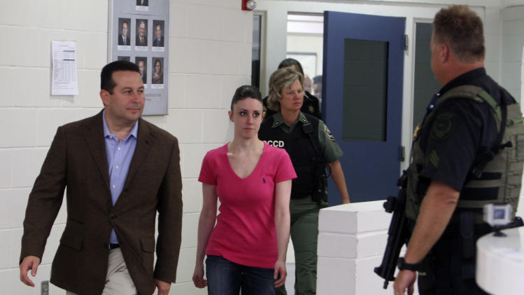 FILE -In this July 17, 2011 file photo, Casey Anthony, center, walks out of the Orange County Jail with her attorney Jose Baez, left,  during her release in Orlando, Fla.  Anthony comes out of seclusion for a meeting with the creditors in her bankruptcy case in Tampa Monday March 4, 2013.  (AP Photo/Red Huber, Pool, File)