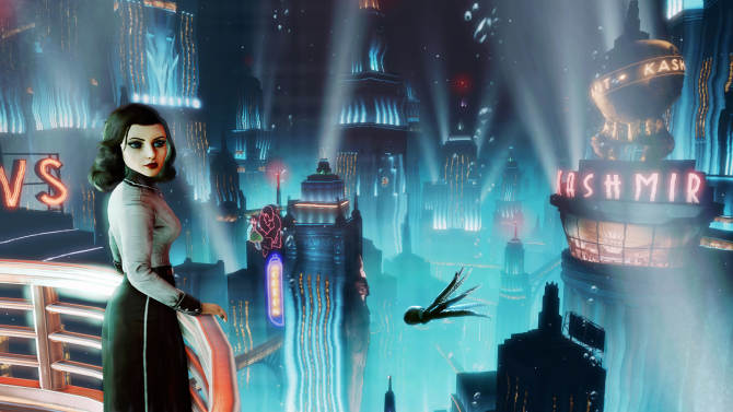 """This publicity photo provided by 2K Games/Irrational Games shows the video game """"BioShock Infinite."""" Irrational Games creative director Ken Levine said Monday, July 29, 2013, that upcoming downloadable content for """"BioShock Infinite"""" would be set in the underwater city of Rapture. (AP Photo/2K Games/Irrational Games)"""