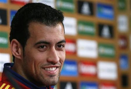 Spain's national football player Sergio Busquets attends a news conference ahead of the Euro 2012 in Gniewino, June 12, 2012. REUTERS/Juan Medina