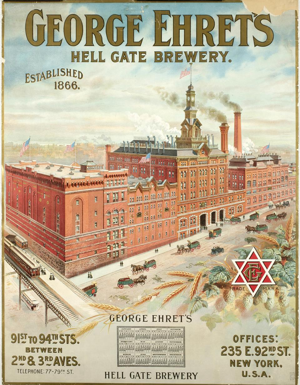 "This undated photo provided by the New-York Historical Society shows a color lithograh of  ""George Ehret's Hell Gate Brewery,""  which will be a part of the uncoming exhibit ""Beer Here,"" featuring a small beer hall and the chance to try a selection of New York City and state artisanal beers. (AP Photo/ New-York Historical Society)"