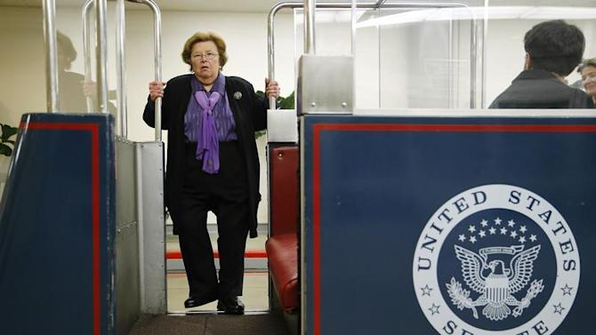 Mikulski boards the subway to the senate office buildings at the U.S. Capitol in Washington