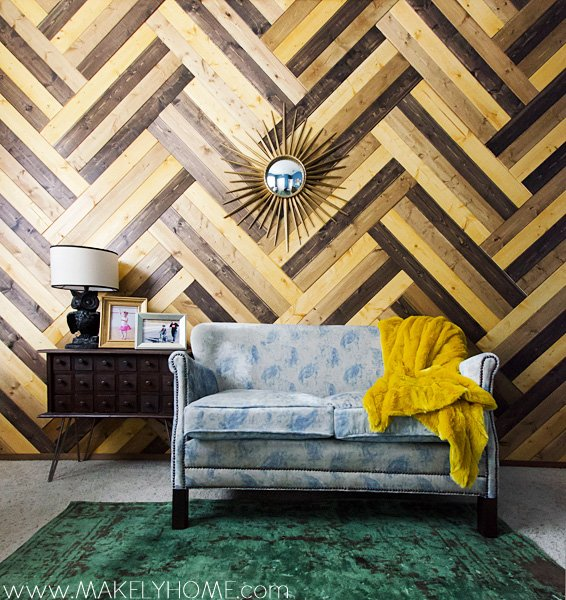 Herringbone Wood Paneled Wall