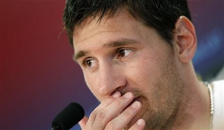 FC Barcelona's player Lionel Messi attends a news conference at Joan Gamper training Camp