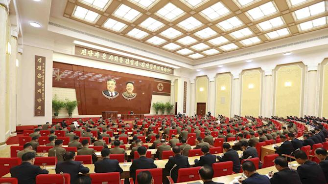North Korean leader Kim Jong Un holds an enlarged meeting of the Central Military Commission of the Workers' Party of Korea in this undated photo released by North Korea's KCNA in Pyongyang