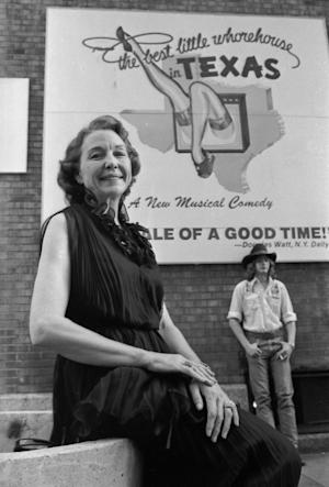 "This 1978 photo shows Edna Milton Chadwell posing outside of the Broadway Theater where she was appearing in the musical based on her past, ""The Best Little Whorehouse In Texas"". The last madam of the infamous Texas brothel that inspired the movie ""The Best Little Whorehouse in Texas"" has died in Phoenix on Feb. 25, 2012. She was 84. (AP Photo)"
