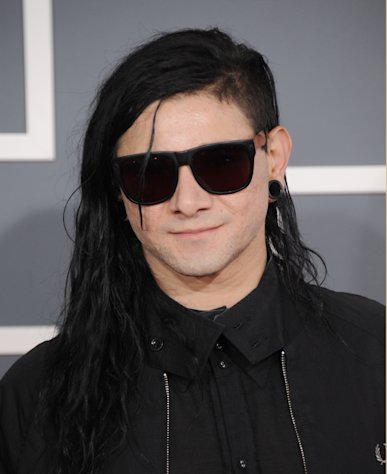 Skrillex arrives at the 55th annual Grammy Awards on Sunday, Feb. 10, 2013, in Los Angeles. (Photo by Jordan Strauss/Invision/AP)