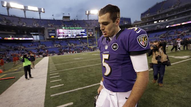 Baltimore Ravens quarterback Joe Flacco walks off the field after an NFL football game against the Denver Broncos in Baltimore, Sunday, Dec. 16, 2012. The Broncos defeated the Ravens 34-17. (AP Photo/Patrick Semansky)
