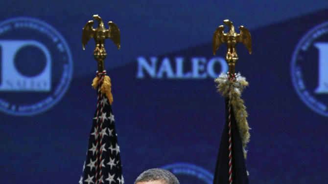 President Barack Obama speaks at the NALEO (National Association of Latino Elected and Appointed Officials) conference, Friday, June 22, 2012, in Lake Buena Vista, Fla. (AP Photo/John Raoux)