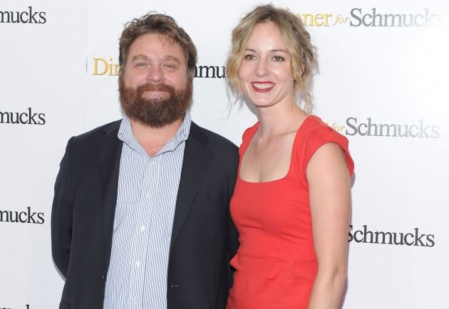Zach Galifianakis and Quinn Lundberg attend the 'Dinner For Schmucks' premiere n New York City on July 19, 2010 -- Getty Images
