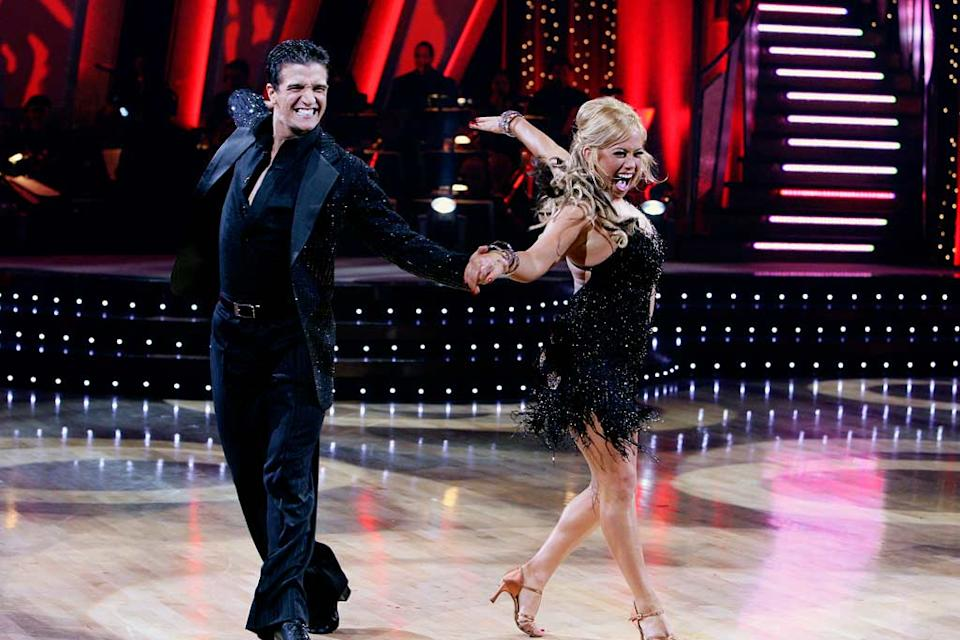 Mark Ballas, Jr., and Sabrina Bryan perform a dance in the 5th season of Dancing with the Stars.