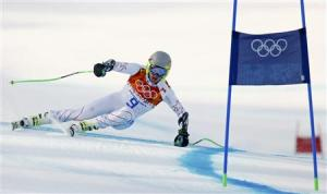 Ligety of the U.S. skis during the men's alpine skiing Super-G competition at the 2014 Sochi Winter Olympics