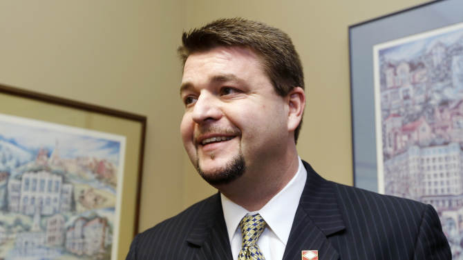Sen. Jason Rapert, R-Conway, appears for an interview near the senate chamber at the Arkansas state Capitol in Little Rock, Ark., Tuesday, March 5, 2013. The Arkansas Senate voted Tuesday to override Gov. Mike Beebe's veto of Rapert's legislation that would ban most abortions from the 12th week of pregnancy onward and would give the state the most restrictive abortion laws in the country. (AP Photo/Danny Johnston)