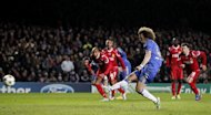 Chelsea defender David Luiz scores his penalty during the UEFA Champions League Group E match against FC Nordsjaelland. Chelsea interim coach Rafael Benitez did his best to focus on the positives after the holders went out of the Champions League despite thrashing FC Nordsjaelland 6-1
