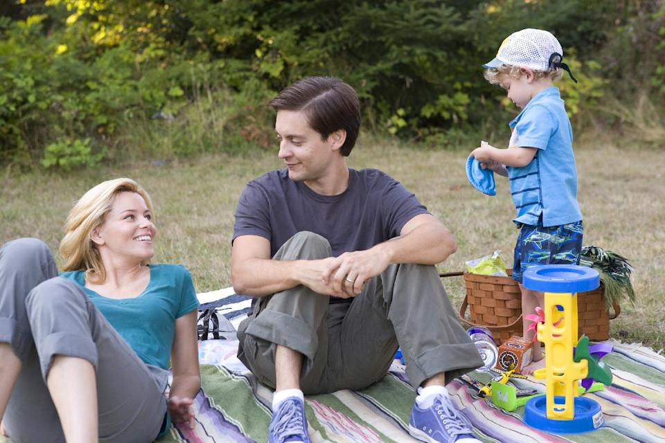 "This film image released by Radius/The Weinstein Company shows Elizabeth Banks, left, and Tobey Maguire in a scene from, ""The Details."" (AP Photo/Radius/The Weinstein Company, Jan Cook)"