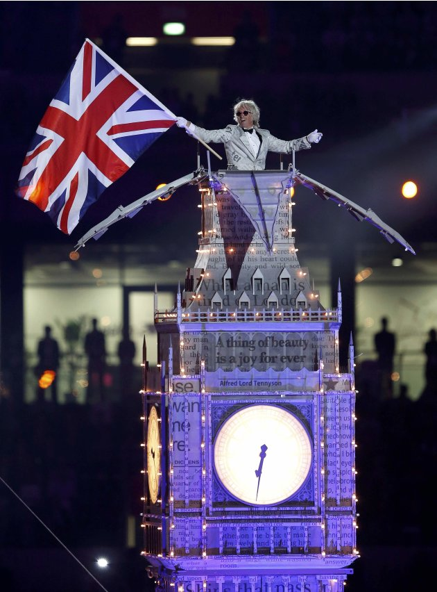 A performer takes part in the closing ceremony of the London 2012 Olympic Games at the Olympic Stadium