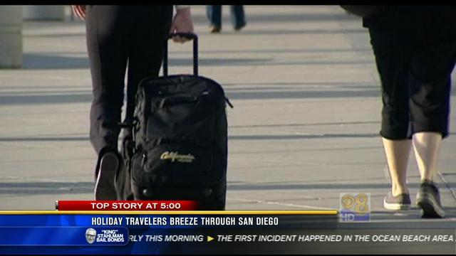 Holiday travelers breeze through San Diego