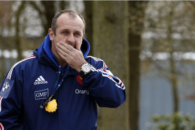 France's rugby team coach Philippe Saint-Andre attends a training session at the Rugby Union National Centre in Marcoussis