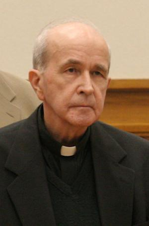 FILE - In this photo made Thursday, May 11, 2006, in Toledo, Ohio, the Rev. Gerald Robinson, a Roman Catholic priest, listens as the verdict is read finding him guilty of killing Sister Margaret Ann Pahl. In a motion filed in federal court Friday, June 20, 2014, Robinson is asking a federal judge in Ohio to let him spend his final days at a nursing home run by nuns. (AP Photo/Andy Morrison, Pool, File)