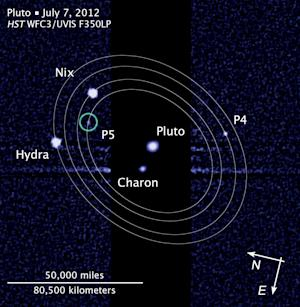 "This photo provided and annotated by NASA/Hubble Space Telescope shows the five moons in their orbits around Pluto. The smallest moons — no more than 20 miles (32 kilometers) across — were discovered in that past two years and are currently referred to as P4 and P5. Astronomers announced a contest Monday, Feb. 11, 2013 to name the two tiny moons. Twelve choices are available at the website ""plutorocks."" (AP Photo/NASA/Hubble Space Telescope)"