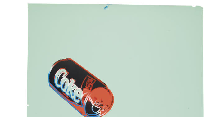 """This undated photo provided by Christies's auction house in New York shows Andy Warhol's """"New Coke III B.44,"""" screenprint in colors, on colored graphic art paper, with a pre-auction estimate of $25,000-35,000. It is one of about 125 artworks being offered from Feb. 26 through March 5 in Christie's first online-only Warhol sale. The works can be previewed online prior to the sale. Bidders can browse, bid and receive instant updates by email or phone if another bid exceeds theirs. (AP Photo/Christie's)"""