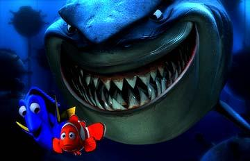Marlin and Dory followed by Bruce the Shark in Disney and Pixar's Finding Nemo