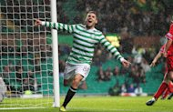Celtic's Gary Hooper celebrates his second goal