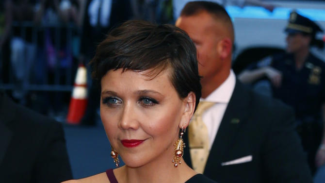 """Actress Maggie Gyllenhaal arrives at the Metropolitan Museum of Art Costume Institute Gala 2015 celebrating the opening of """"China: Through the Looking Glass,"""" in Manhattan"""