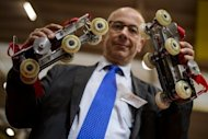 "Paul Chavand is picturd with his ""Rollkers"" skates at the International Exhibition of Inventions in Geneva on April 10, 2013. Chavand said he invested 10,000 euros of his own money in the project and was leveraging 100,000 euros from investors"