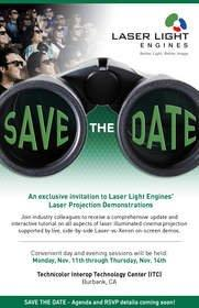 Laser Light Engines Announces Laser Projection Demonstrations This November in Burbank, CA