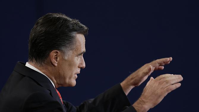 Republican presidential nominee Mitt Romney speaks during the first presidential debate with President Barack Obama at the University of Denver, Wednesday, Oct. 3, 2012, in Denver. (AP Photo/David Goldman)