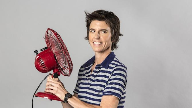 """This 2012 photo released by The Daily shows comedian Tig Notaro.  After starting her comedy routine with """"Good evening! Hello. I have cancer. How are you?"""", Notaro launched into a 30-minute performance that immediately became legendary in comedy circles and that's now available as an unlikely live album via a $5 digital release by comedian Louis C.K. In just a week, it's sold more than 60,000 copies. (AP Photo/Kate Lacey for The Daily)"""