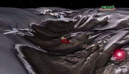 Jets track Santa as he starts his journey as shown in this artist's rendition provided by North American Aerospace Defense Command Santa Tracker