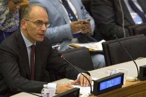 Italy's PM Letta during news conference at U.N. General Assembly in New York