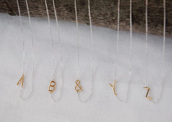 Sideways Delicate Gold Initial Necklace