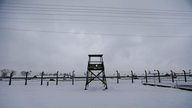 A guard tower is seen at the former German Nazi concentration and extermination camp Auschwitz-Birkena