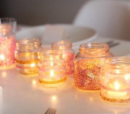 DIY Glittery Votive Holders