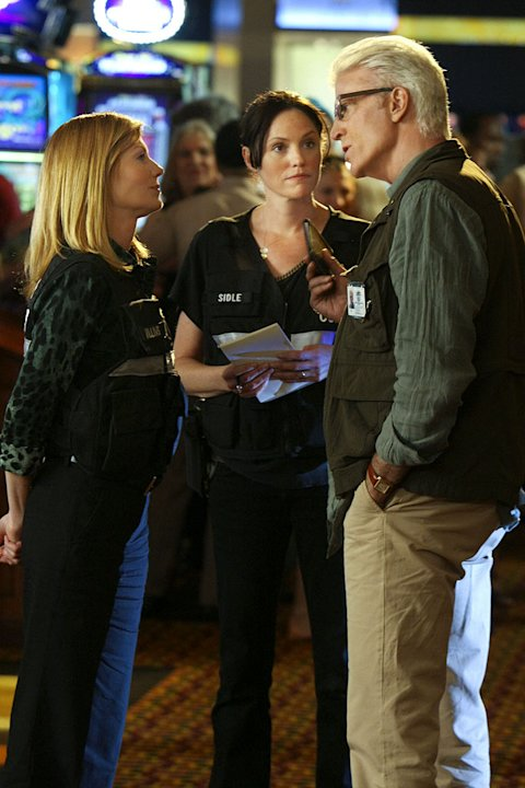 "Ted Danson as lead investigator D.B. Russell, Marg Helgenberger as Catherine Willows and Jorja Fox as Sara Sidle on ""CSI: Crime Scene Investigation."""