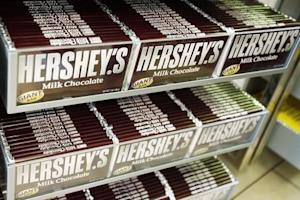 Rows of Hershey candy bars are seen inside the Hershey Store in New York
