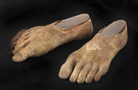 A pair of prosthetic hairy Hobbit feet are shown in this handout photo provided by Julien's Auction in Beverly Hills